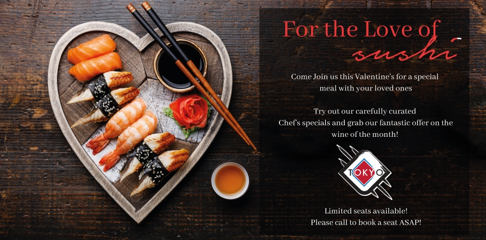 TOKYO RESTAURANT- Chef's Specials For The Month Of February!