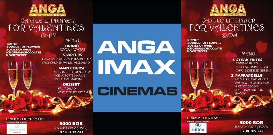 Anga Cinemas Valentine's Candle Lit Dinner For 2 with A Full Course Fine Dining Menu, Flowers, Wine, Dessert & Movie Tickets