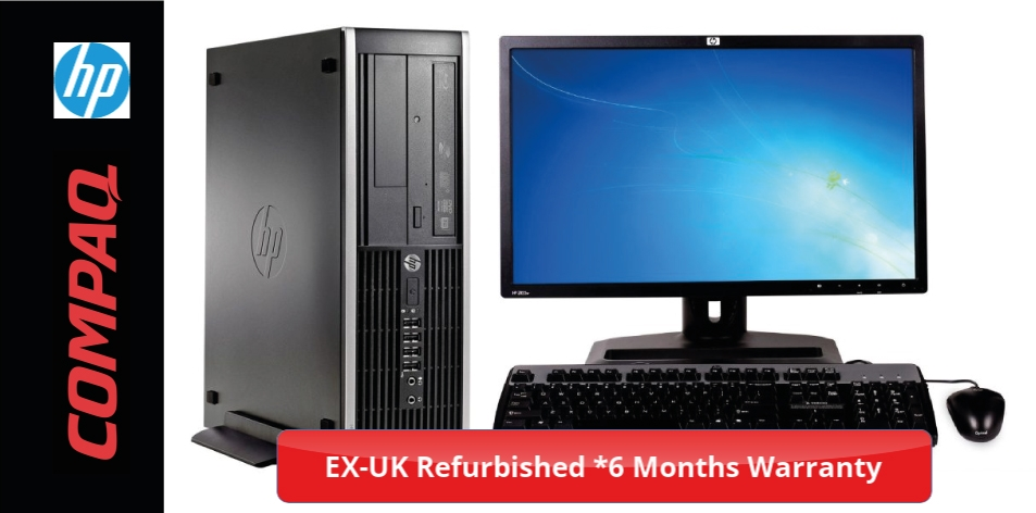 HP Compaq SFF-On A Budget? Stuck At Home? Refurbished Ex-UK - With 6 Months Warranty- Intel Core i7, 4GB RAM, 500GB HD, HD Graphics Card, Keyboard, Optical Mouse, Windows 10 Pro,19 Inch LCD Monitor