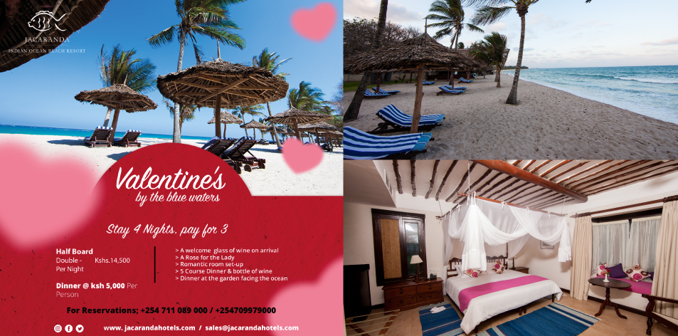 Jacaranda Hotels Kenya: Spend Valentine's By The Beach- Stay 4 Nights Pay For 3 At Indian Ocean Beach Resort