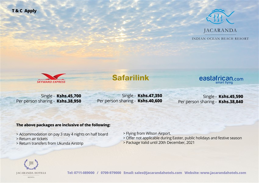 Indian Ocean Beach Resort Diani: 4 Nights Flying Packages Starting From Kshs. 38,840