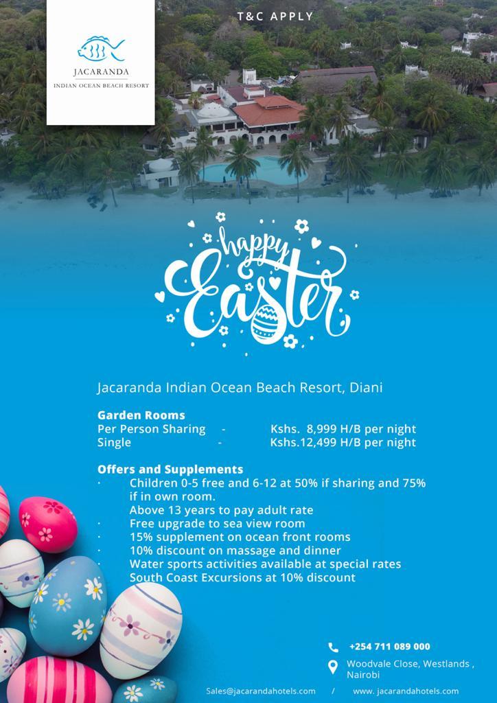 Jacaranda Indian Ocean Beach Resort- Spend This Easter In Beautiful Diani