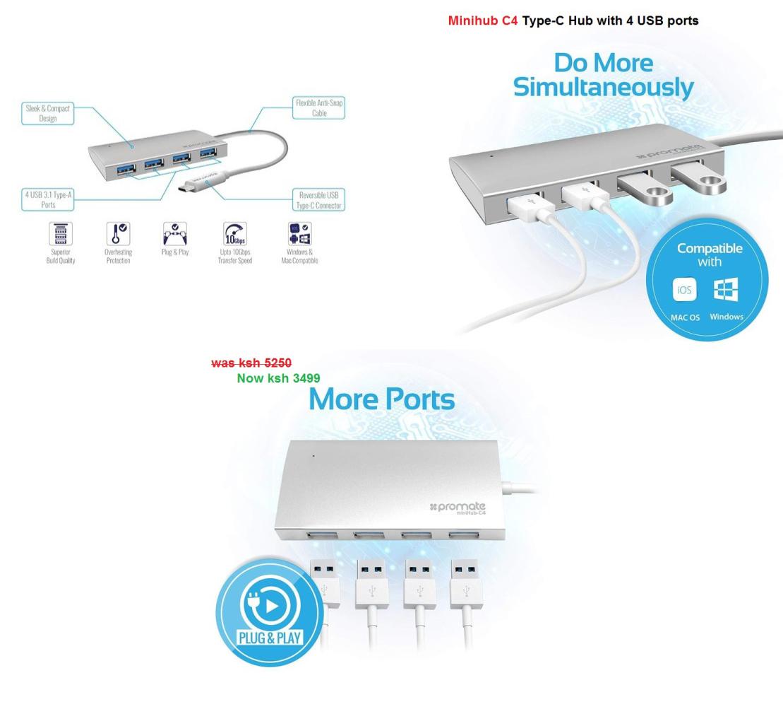 Promate Minihub-C4 USB-C Hub W/ 4 USB Ports for Macbook