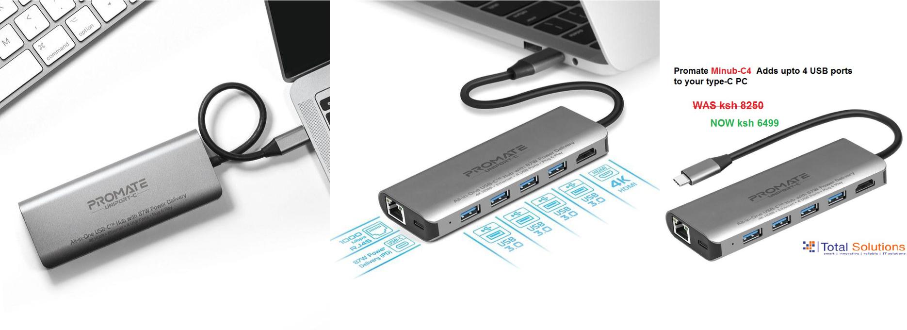 Promate USB-C Charging Hub W/ HDMI & Ethernet Port
