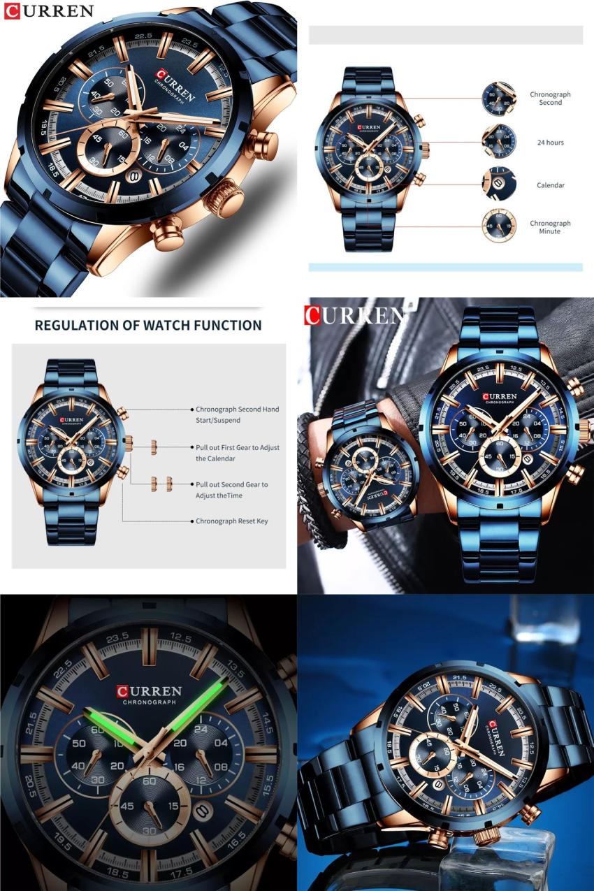 Curren Mens Functional Chrono 30M Water Resist Wrist Watch