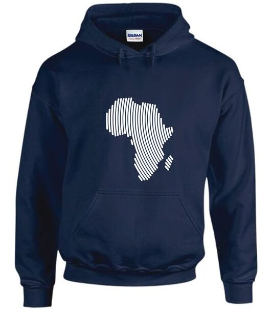 Mavazi Afrique Africa Fingerprint Hoodie - Navy Blue