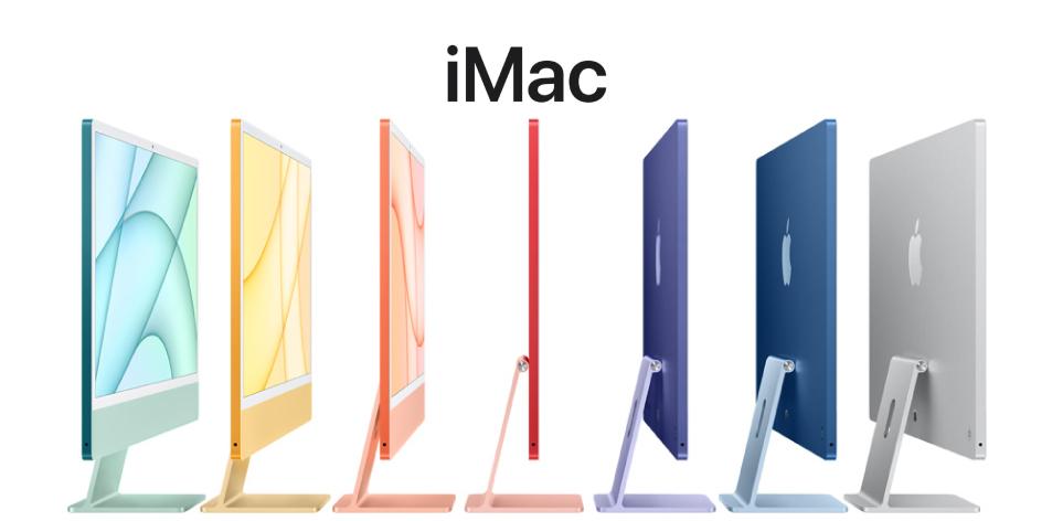 "Apple iMac 24""- Say hello to the new iMac   Apple- M1 Processor, 4.5K Display, 8GB RAM, 256GB SSD, Intel Iris Plus Graphics, 2 Year Warranty"